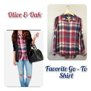 Olive & Oak Plaid Button Down Shirt Casual Fun